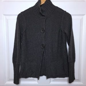 SUNDANCE Grey Distressed Collared Cardigan XS